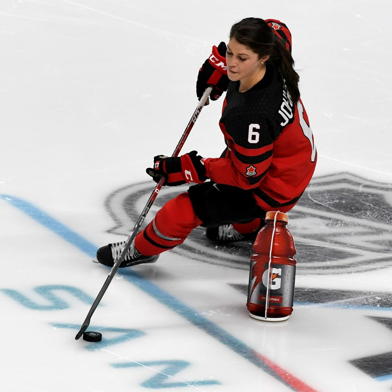 SAN JOSE, CA - JANUARY 25:  Rebecca Johnston, of the Canadian women's hockey team competes in the Gatorade NHL Puck Control during the 2019 SAP NHL All-Star Skills at SAP Center on January 25, 2019 in San Jose, California.  (Photo by Thearon W. Henderson/Getty Images)